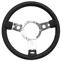 Steering Wheel, 13'' Leather, Polished Spokes