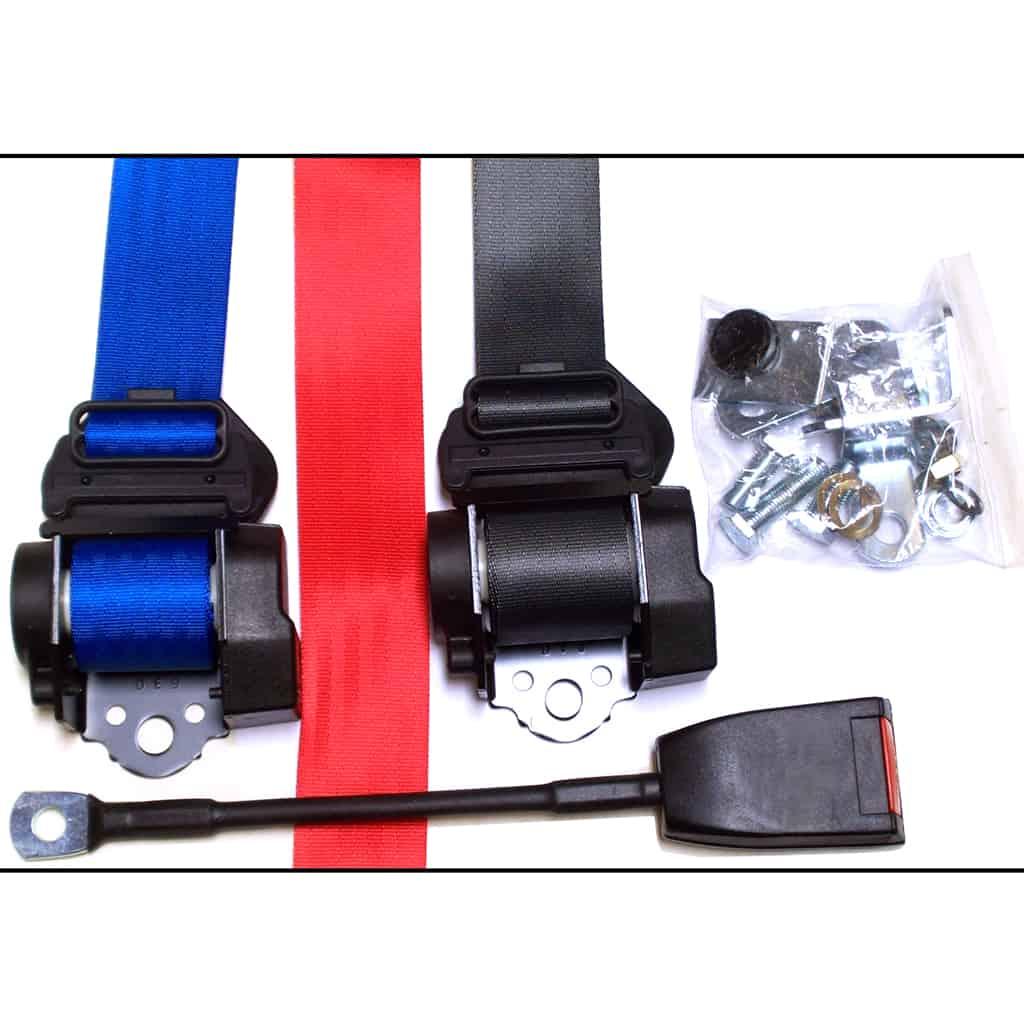 Seat Belt Kit, Rear, 3 Point Retractable, Colors