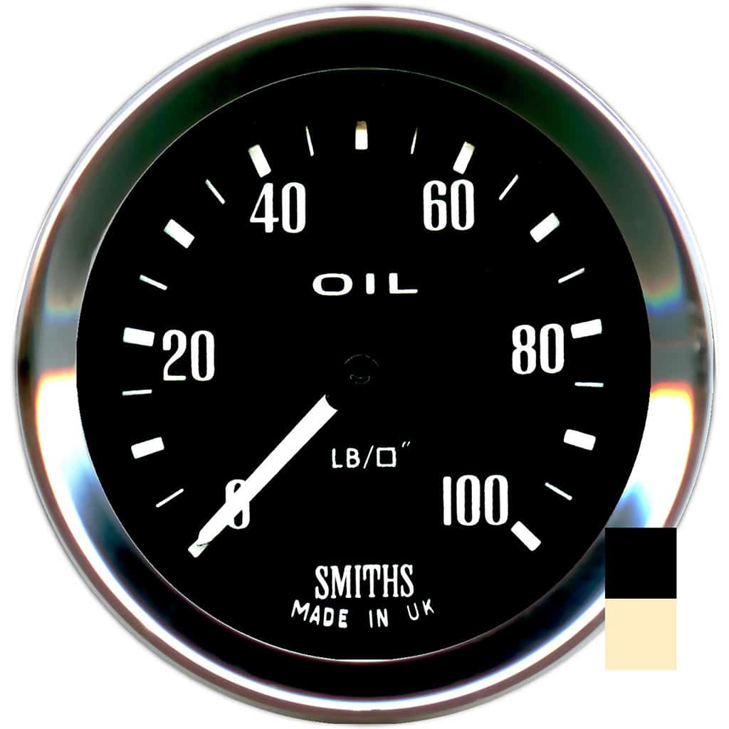 Oil Pressure Gauge, Smiths, Black